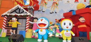 Christmas Celebration with Japanese Cartoon Characters