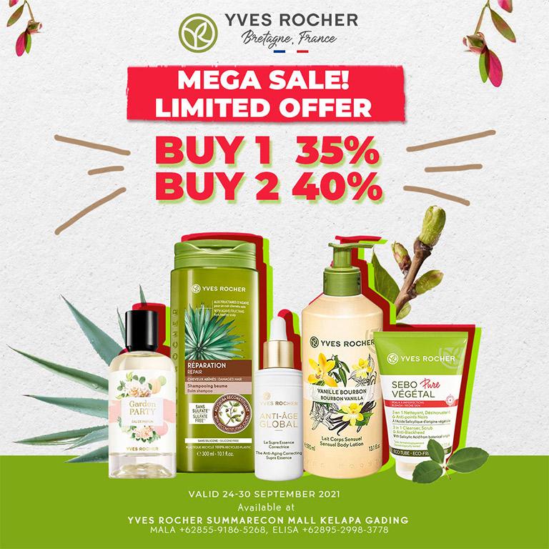 Yves Rocher BUY 1 get 35% & BUY 2 get 40%!