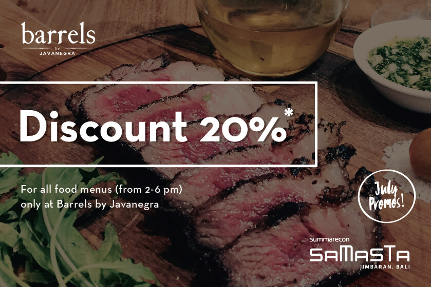 Get special 20% DISCOUNT at Barrels