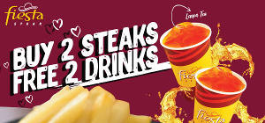 Buy 2 Steaks Free 2 Drinks